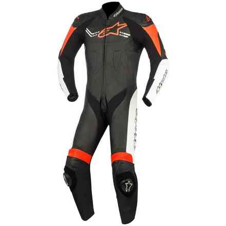 Challenger V2 black white red fluo Leather Suit Alpinestars