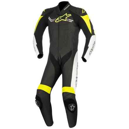 Challenger V2 blackblack white yellow fluo Leather Suit Alpinestars