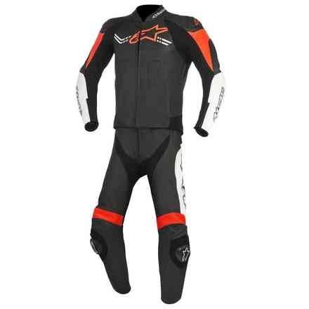 Challenger V2 leather suit 2pc black white red Alpinestars
