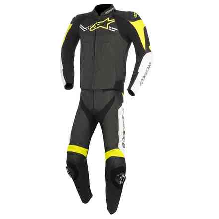 Challenger V2 leather suit 2pc black white yellow Alpinestars