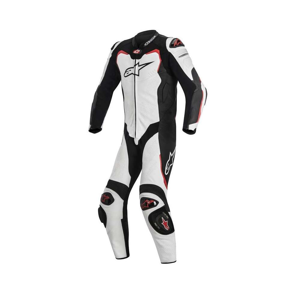 Combinaison Gp Pro compatible airbag Tech Air blanc noir rouge Alpinestars