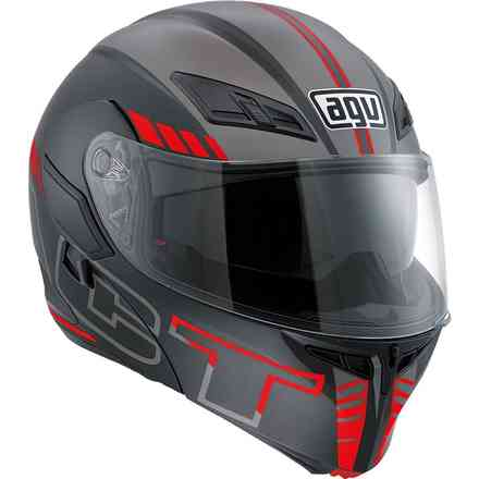 Compact helmet St Seattle Matt Black Silver Red Agv
