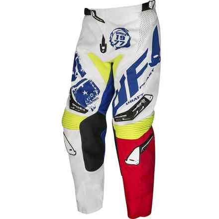 Cross Draft Pants White Blue Red Ufo