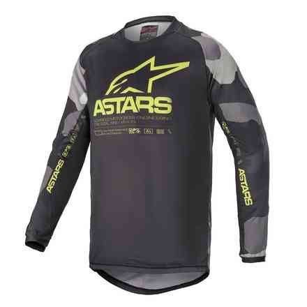 Cross Youth Racer Tactical Jersey Gray Camo Yellow Fluo Alpinestars