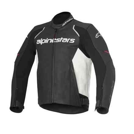 Devon black-white Leather Jacket  Alpinestars