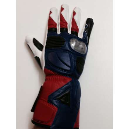 Double-r Leather Gloves red-blue-white Dainese