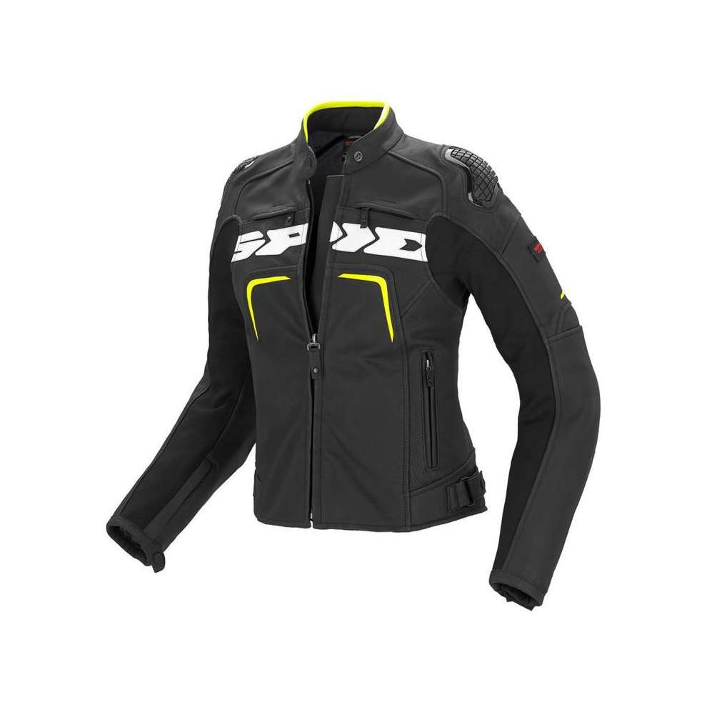 Evorider black-yellow fluo lady Leather  Jacket Spidi