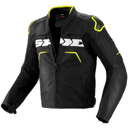Evorider black-yellow fluo Leather  Jacket Spidi