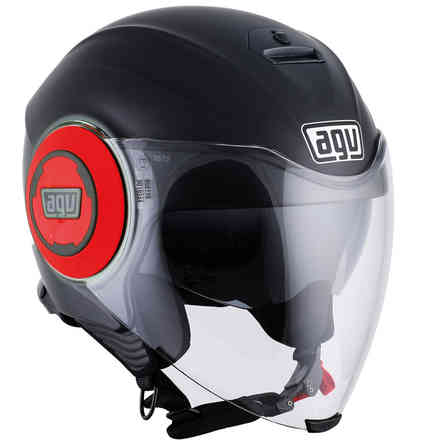 Fluid Solid helmet Matt Black red Agv