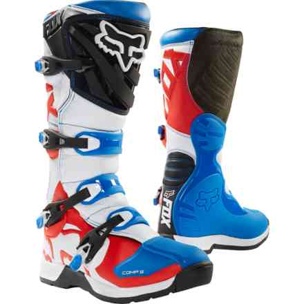 Fox Racing Comp 5 Blaue Stiefeletten - Rot Fox