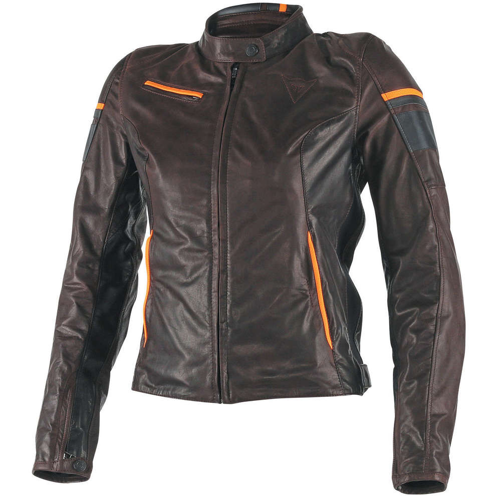 Frau Lederjacke Michelle Brown-schwarz-orange Dainese