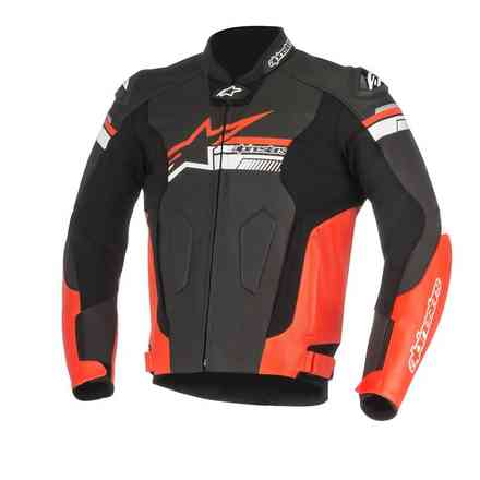 Fuji leather jacket black white red Alpinestars