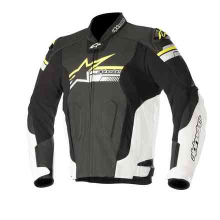 Fuji leather jacket black white yellow fluo Alpinestars