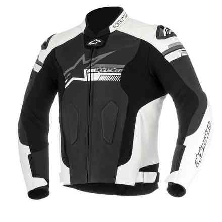 Fuji leather jacket black white Alpinestars