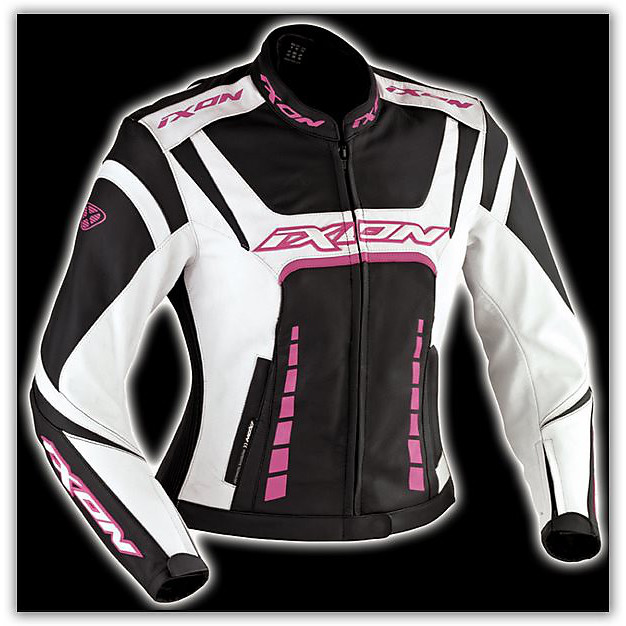 Fulgura Black / White / Pink  Leather Lady Jacket Ixon