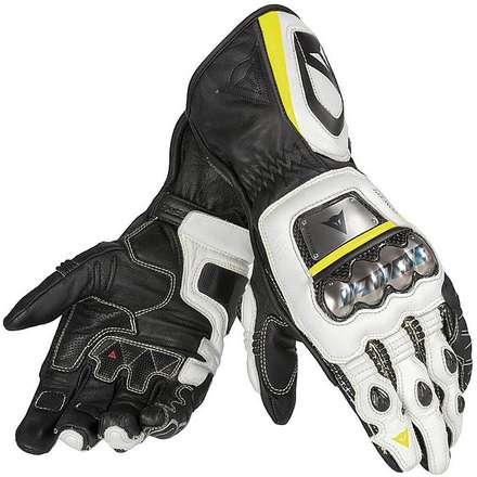 Full Metal D1 Gloves black-white-yellow fluo Dainese