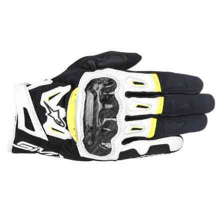 Gants Smx-2 Air Carbon V2 noir blanc jaune Alpinestars