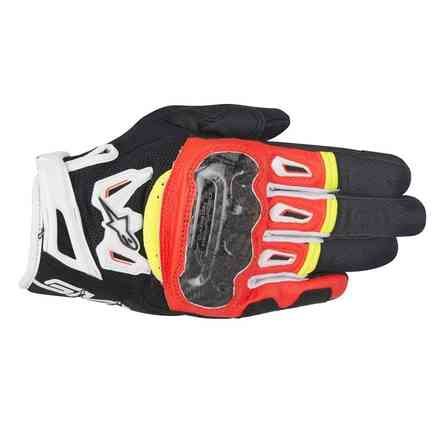 Gants Smx-2 Air Carbon V2 noir rouge blanc jaune Alpinestars
