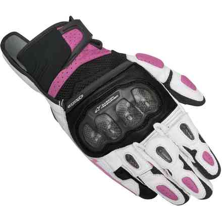 Gants Stella  Sp-x  Air Carbon noir-blanc-fuchsia Alpinestars
