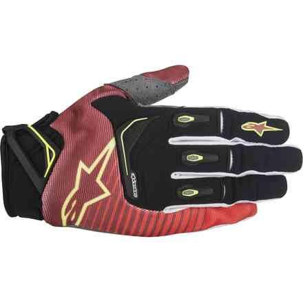 Gants Techstar Factory rouge-blanc-jaune fluo Alpinestars