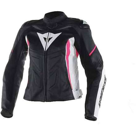 Giacca Donna pelle Avro D1 Nero-Bianco-Fuxia Dainese