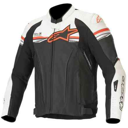 Giacca Gp R V2 Leather T-Air Comp. Nero Bianco Rosso Alpinestars