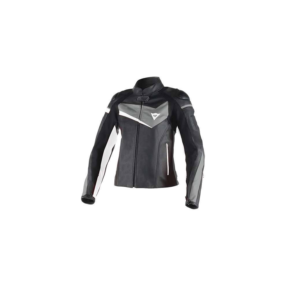 Giacca in pelle donna Veloster nero antracite bianco Dainese