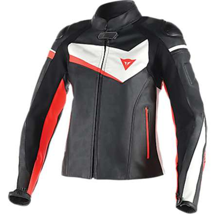 Giacca in pelle donna Veloster nero-bianco-rosso fluo Dainese