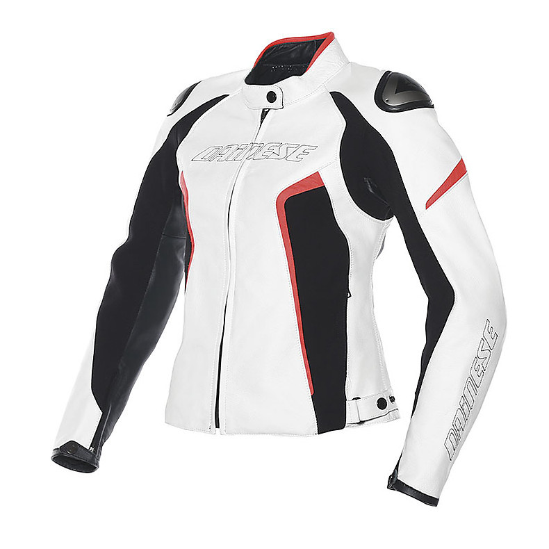 Giacca in pelle Racing D1 donna bianco-nero-rosso fluo Dainese