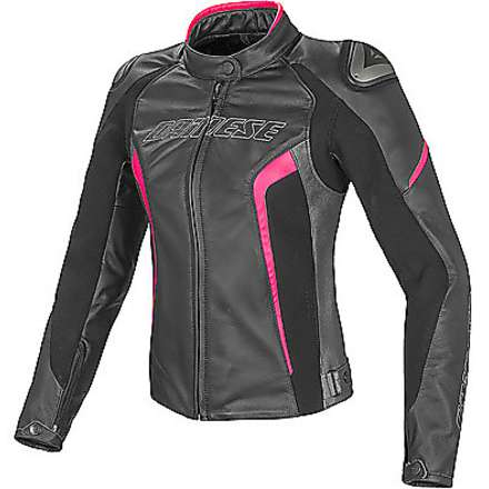 Giacca in pelle Racing estiva D1 donna nero-antracite-fuxia Dainese