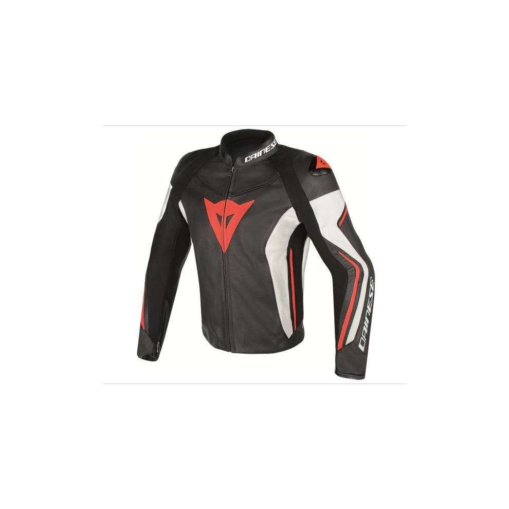 Giacca pelle Assen nero-bianco-rosso fluo Dainese