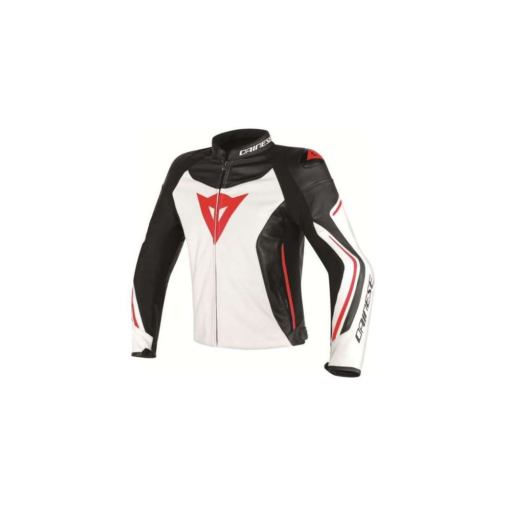 Giacca pelle Assen nero-bianco-rosso Dainese