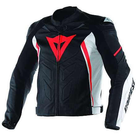 Giacca  pelle Avro D1 Nero-Bianco-Rosso Fluo Dainese