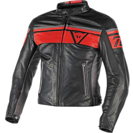 Giacca  pelle Blackjack Nero-Rosso Dainese