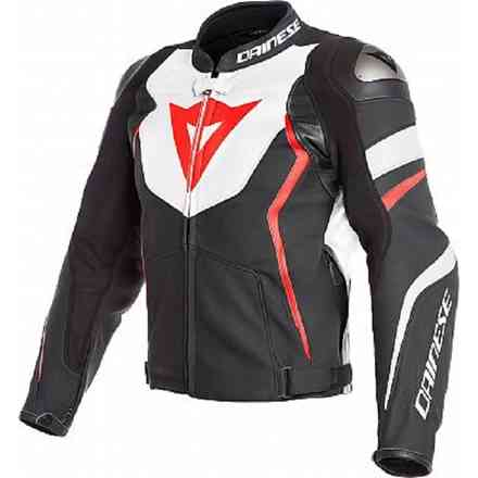 Giacca Pelle Perforata Avro 4 Nero Opaco Bianco Rosso Fluo Dainese