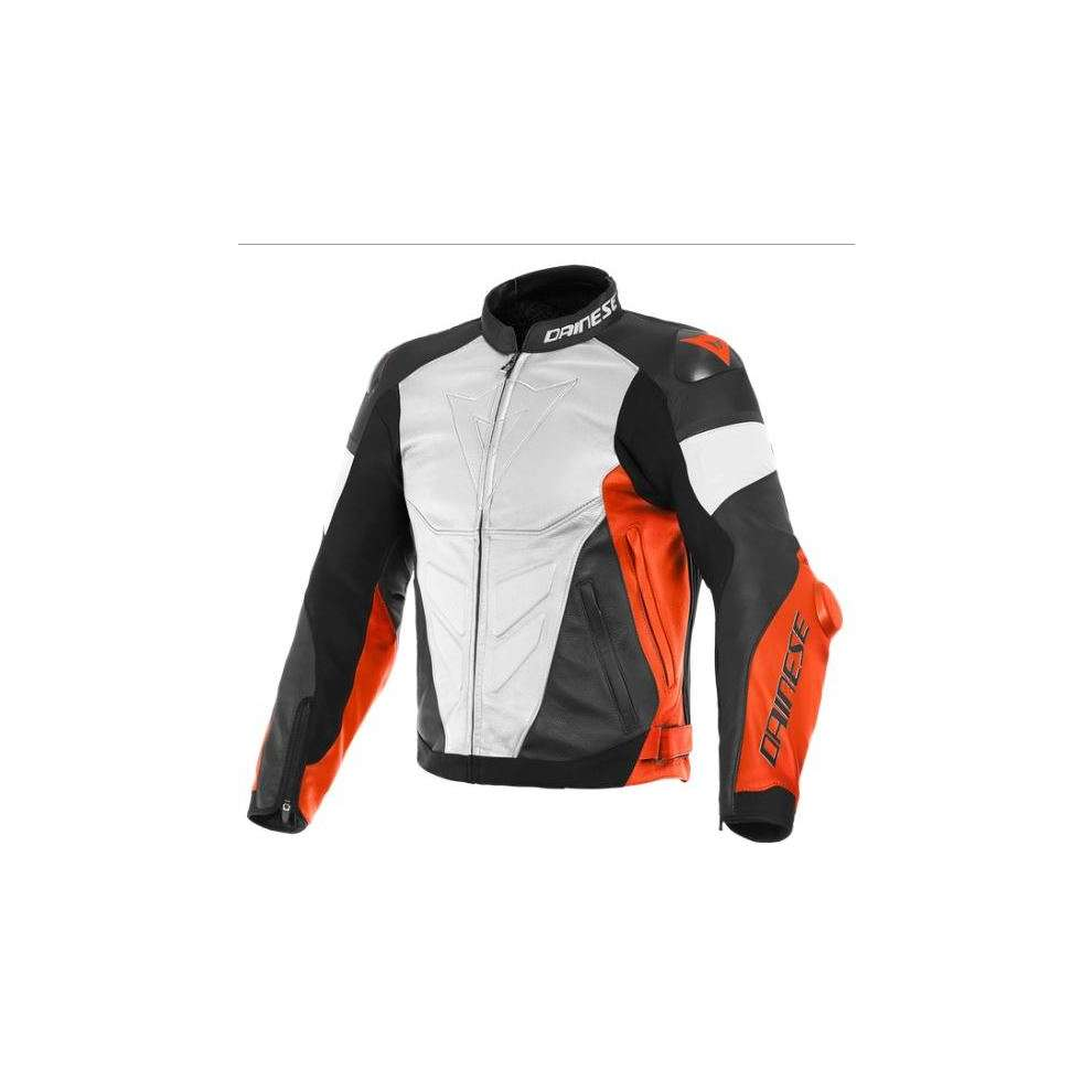 Giacca pelle Super Race bianco rosso fluo nero Dainese