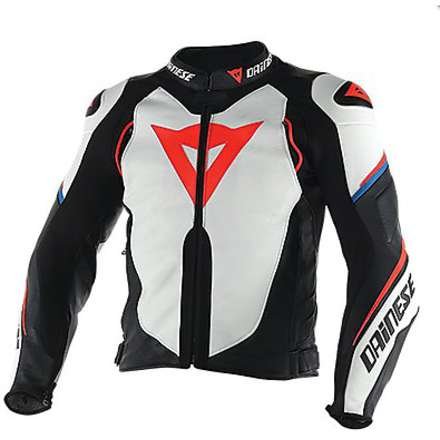 Giacca pelle Super Speed D1 Bianco-Nero-Rosso-Fluo Dainese