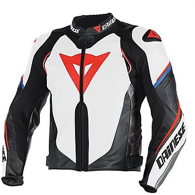Giacca pelle Super Speed D1 estivo Bianco-Nero-Rosso-Fluo  Dainese