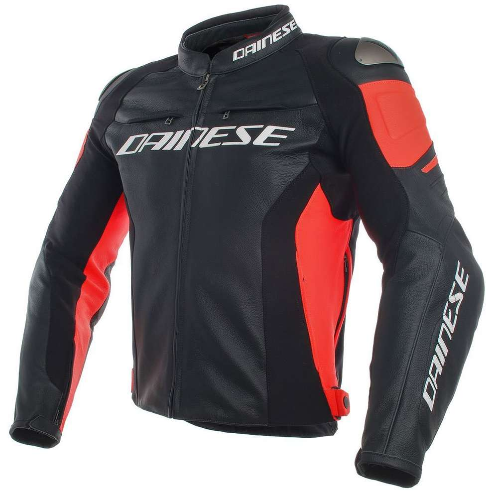 Giacca Racing 3 Perforata nero rosso fluo Dainese