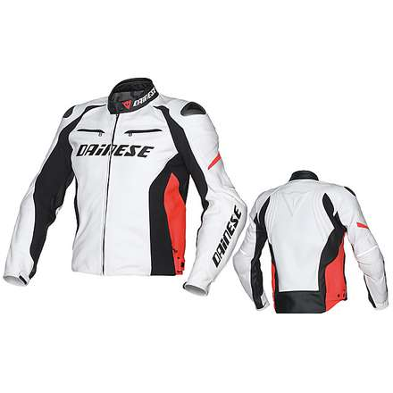 Giacca Racing D1 bianco-nero-rosso fluo Dainese