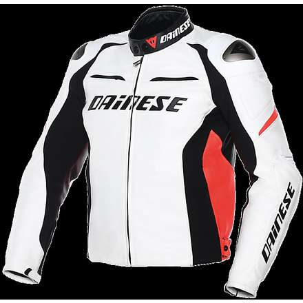 Giacca Racing D1 estivo bianco-nero-rosso fluo Dainese