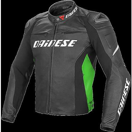 Giacca Racing D1 nero-verde fluo- bianco Dainese