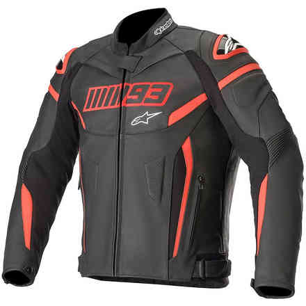 Giacca Twin Ring Leather Nero Rosso Alpinestars