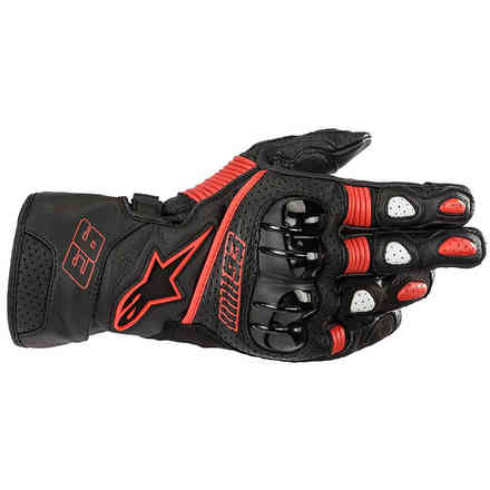 Gloves Twin Ring Leather Black Red Alpinestars
