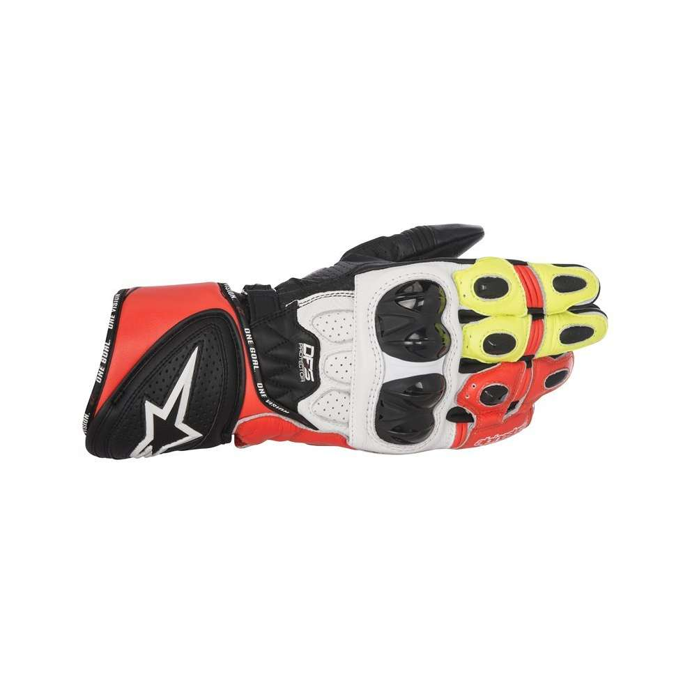 Gp Plus R  black white red yellow Gloves Alpinestars