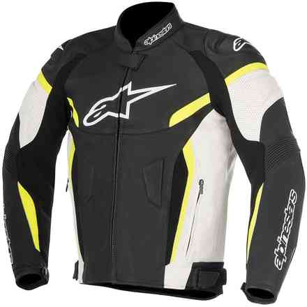 Gp Plus R V2 Airflow black white yellow fluo Leather Jacket Alpinestars