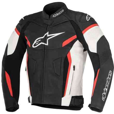 Gp Plus R V2 Black White Red Leather Jacket Alpinestars