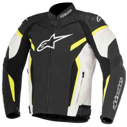 Gp Plus R V2 black white yellow fluo Leather Jacket Alpinestars