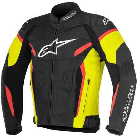 Gp Plus R V2 black yellow red fluo Leather Jacket Alpinestars