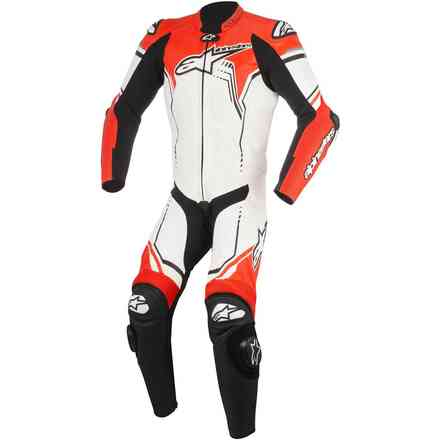 Gp Plus V2 leather suit white black red fluo  Alpinestars